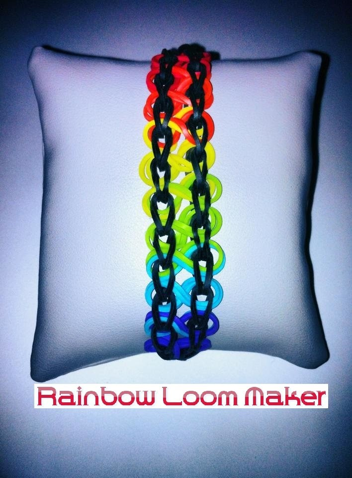 TUTO FR.EN ! Rainbow Loom bracelet rainbow double infinity. arc-en-ciel
