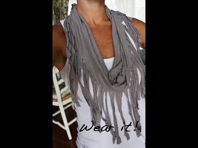 DIY : Pancho - foulard à frange avec un vieux t shirt.