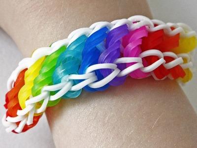 TUTO : bracelet élastique torsadé rotini arc en ciel - Rainbow Loom (en Français)