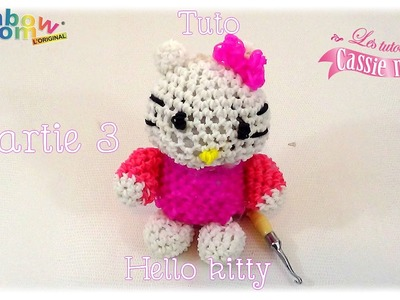 { Tuto } Hello kitty en élastique rainbow loom Part.3