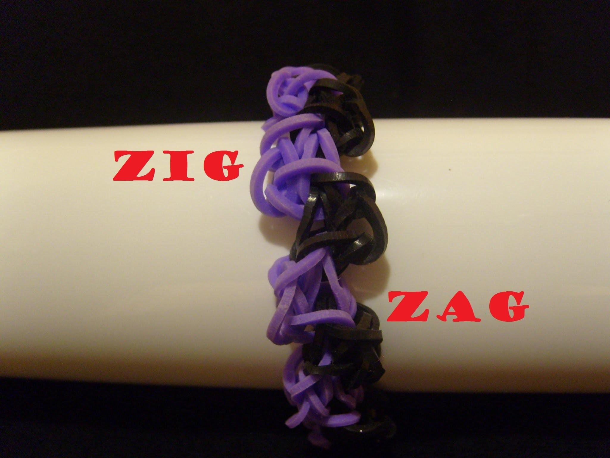 Bracelet elastique ZigZag, tuto francais facile, rainbow loom bands
