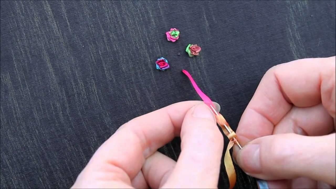 Réalisation d'une rose accordéon en broderie au ruban