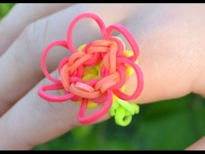 Bague en élastiques Fleur Rainbow loom - how to make a flower ring DIY