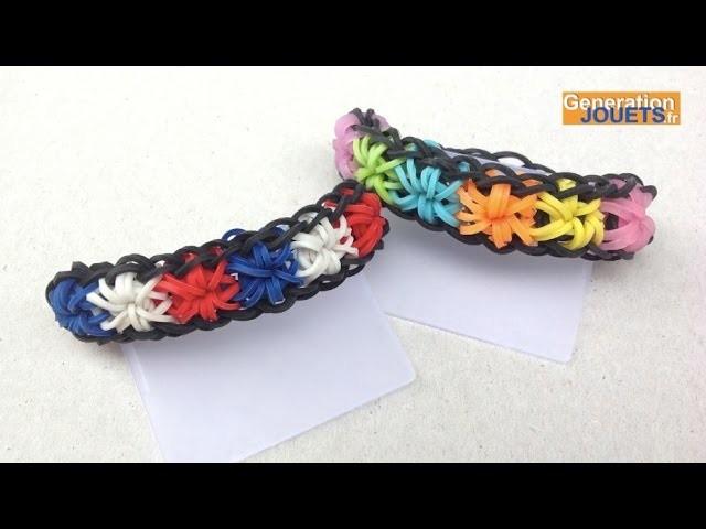 Créer un bracelet élastique Starburst tricolore Rainbow Loom en français