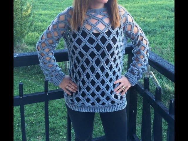 Tuto crochet : Pull losange facile 2. Jersey de mujer tejido a crochet facil 2