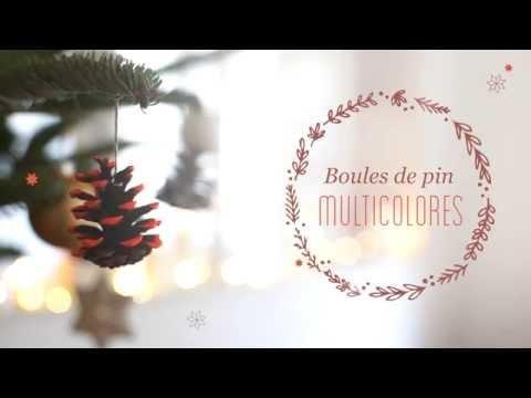 DIY Noël : Boules de pin multicolores