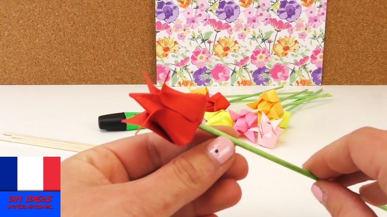 Origami Tulipe DIY. Fleurs en papier. Déco rapide et facile. Instructions pour pliage en français