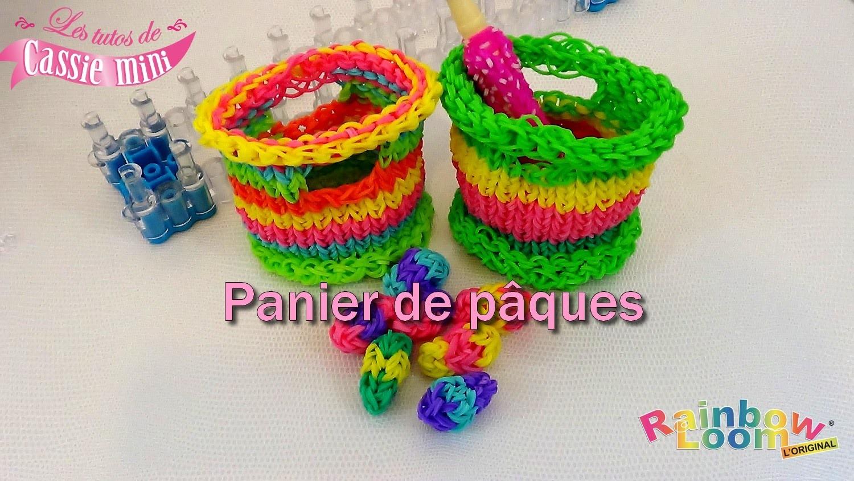 { Tuto } Panier de pâques en élastique rainbow loom