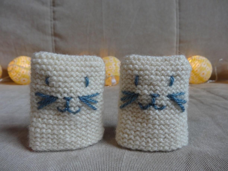 DIY  tricot moufles bébé CHAT niveau débutant