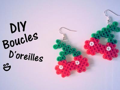 DIY Création boucles d'oreilles cerises perles Hama
