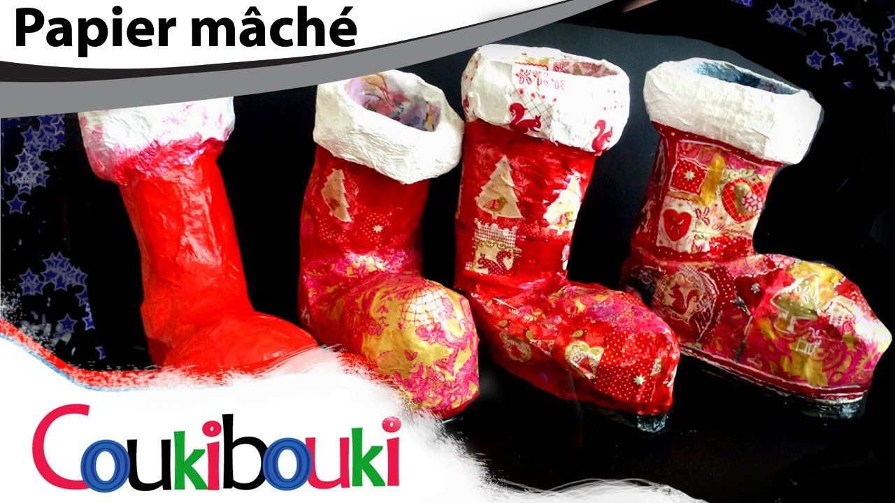 BOTTE de NOËL papier mâché |Décoration Noël Boot Christmas |Tuto| Activité artistique enfant