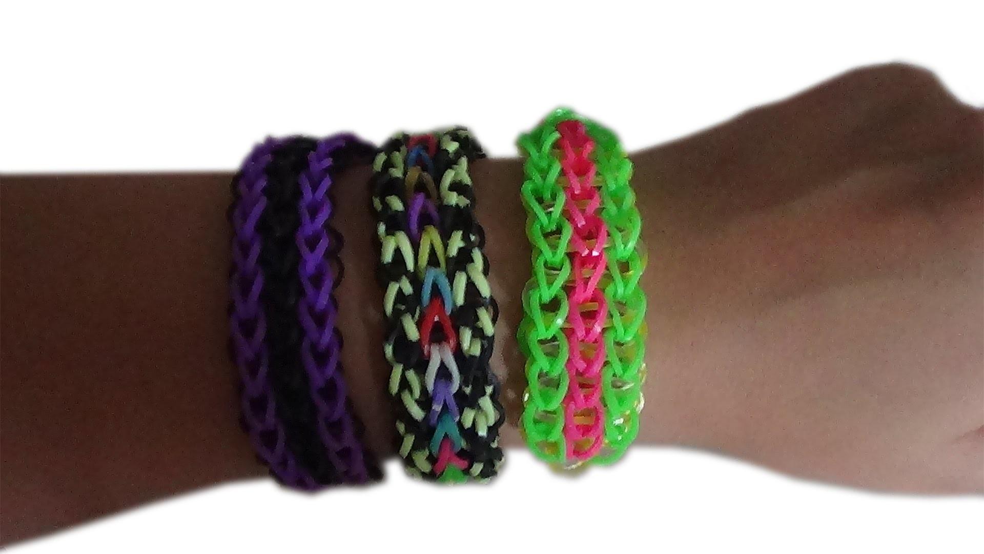 Bracelet élastique à 3 colonnes ( rainbow loom ) Tuto #3 fr