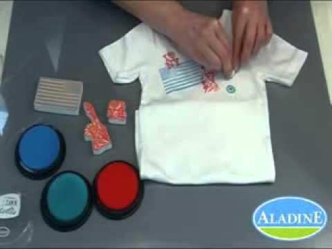 Tuto DIY : customiser un tee-shirt avec des tampons Aladine Stampo'textile