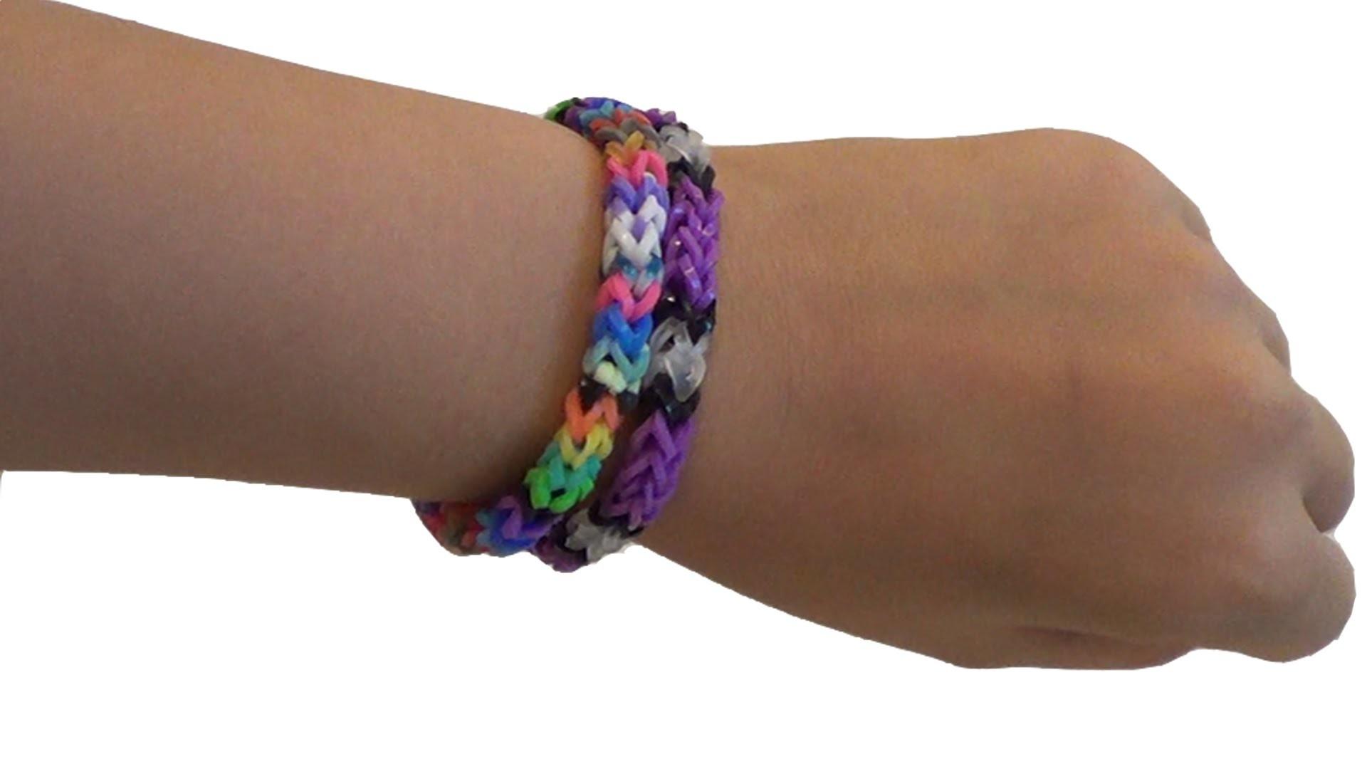 Bracelet élastique rond ( rainbow loom ) Tuto #4 fr