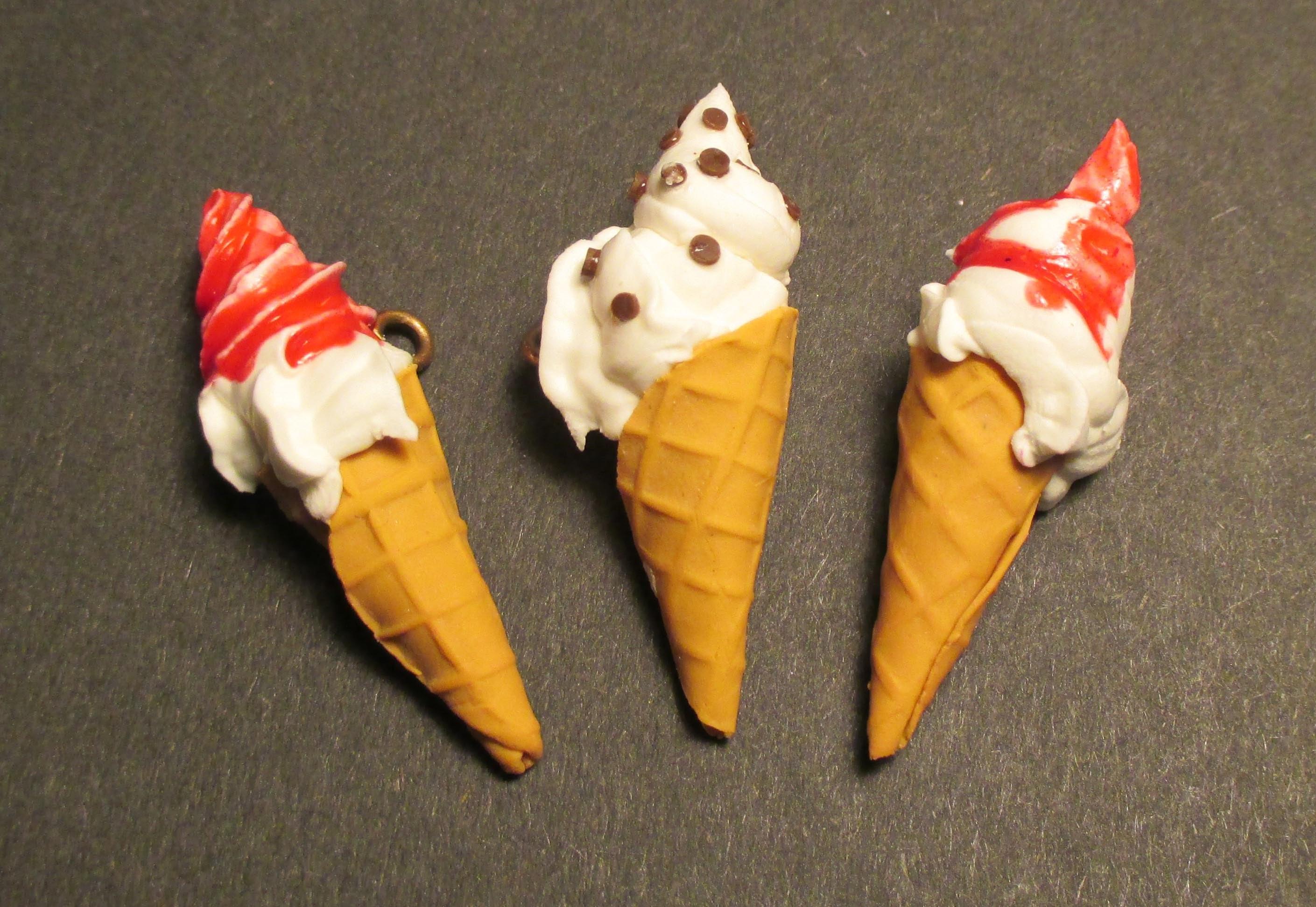 Tuto Cornet Crème Glacée en pâte polymère. Tutorial ice-cream cone polymer clay