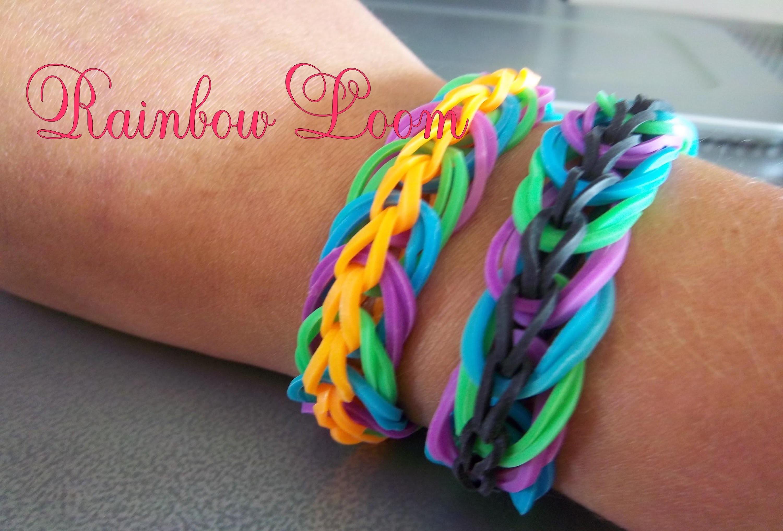 Bracelet Rainbow loom chainettes et cercles -[FR]