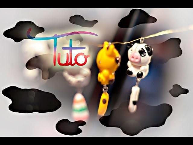 POLYMER CLAY : Porte clé Vache Fimo