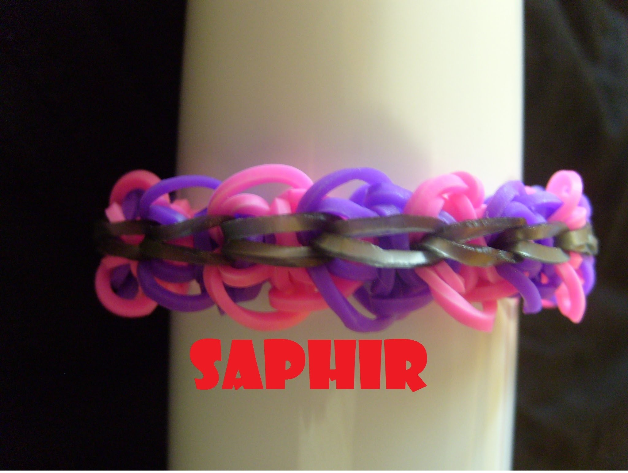Bracelet elastique Saphir, tuto francais facile. Rainbow loom bands
