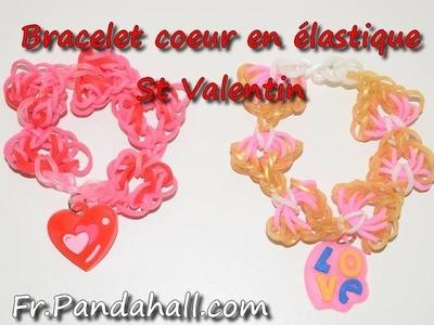 Tuto Bracelet Coeur St Valentin en élastiques juste avec un crochet - Fr.Pandahall.com