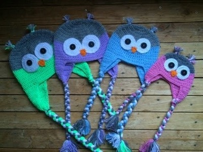 Tuto crochet: Bonnet Hibou (toutes tailles). Owl beanies knitting (all sizes)