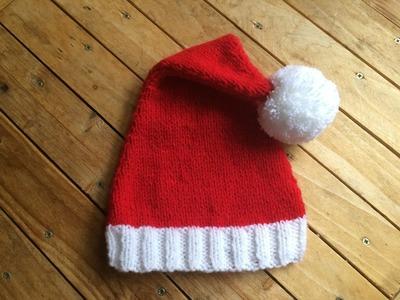 Tuto Tricot Bonnet Père Noël. dos agujas gorro de papa noel