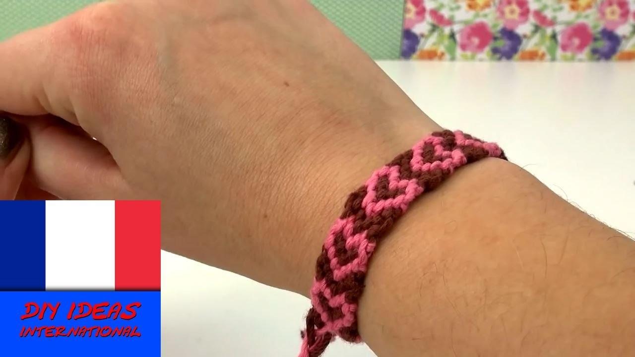 Bracelet à cœurs bracelet brésiliens à motifs coeurs tutoriel bracelet de l'amitié à faire soi-même