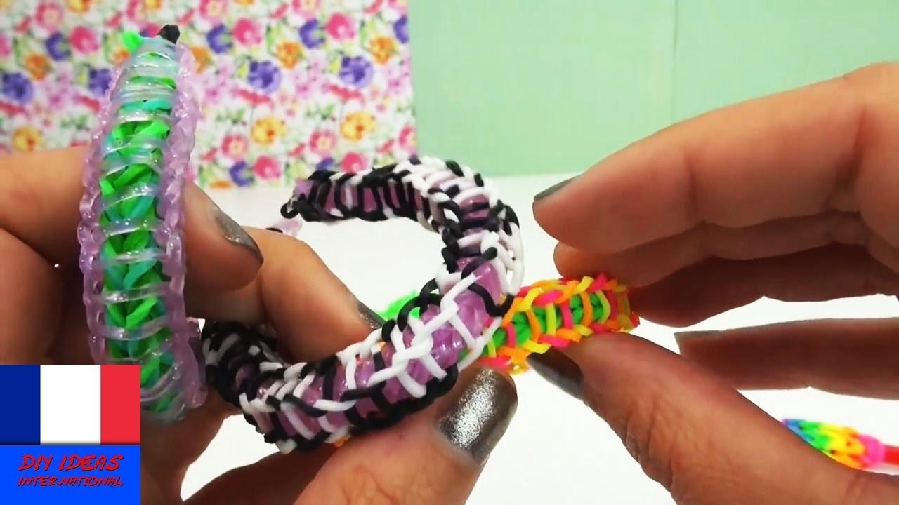Bracelet loom avec élastiques extérieurs. Design original et facile. Tuto en français