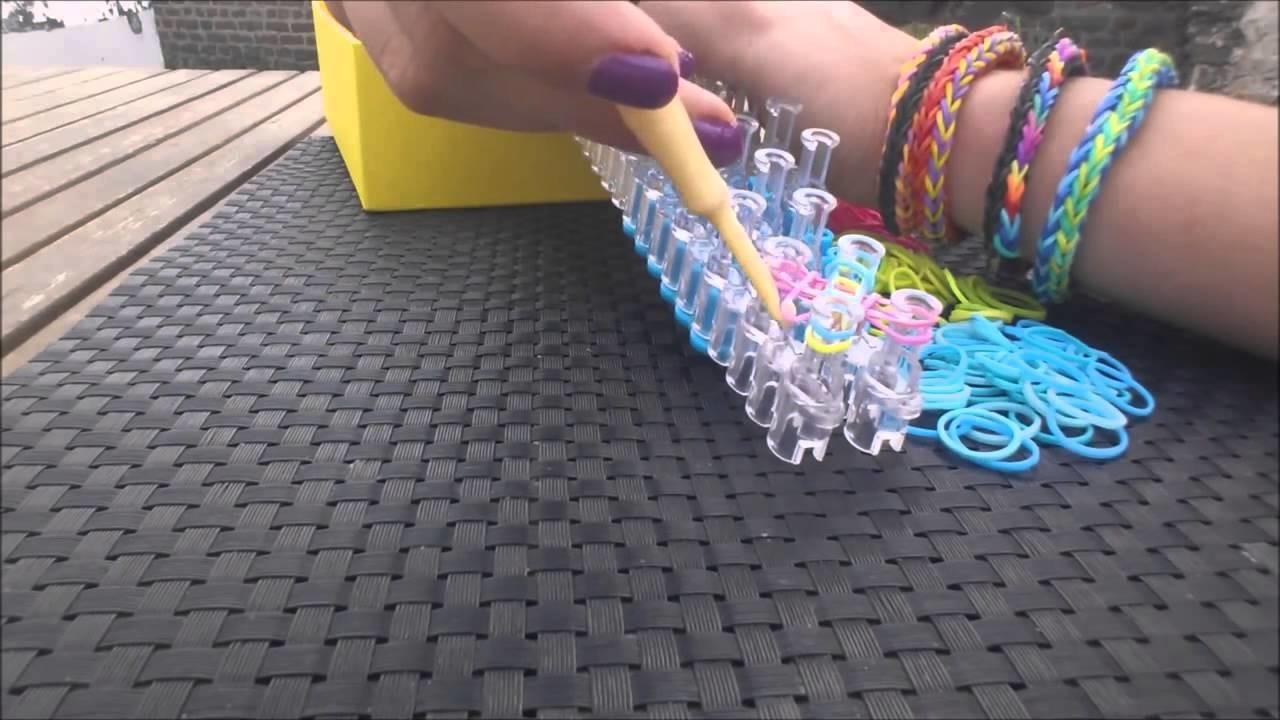 Bracelet DOUBLE CROSS FISHTAIL élastiques RAINBOW LOOM   Pour débutant et en fançais   LOOM BANDS FR
