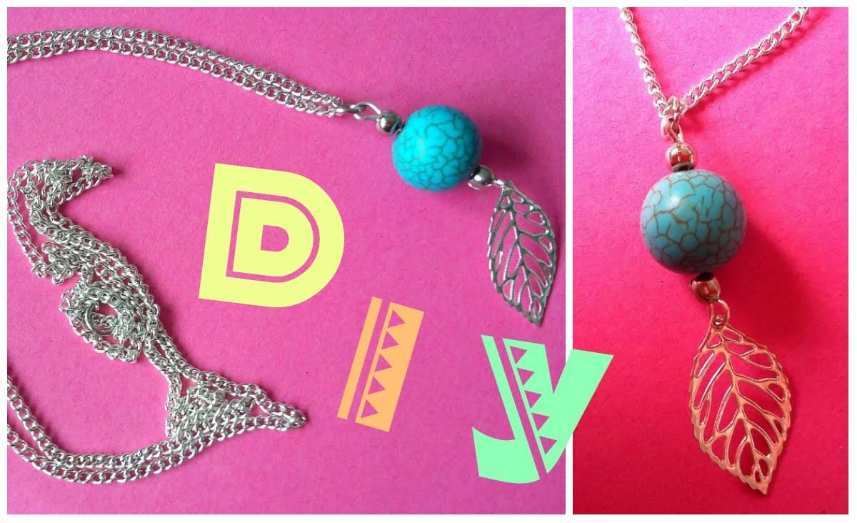 DIY - Collier perle turquoise et feuille argentée