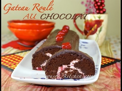Gateau roulé au chocolat-Recette facile.Chocolate roll cake