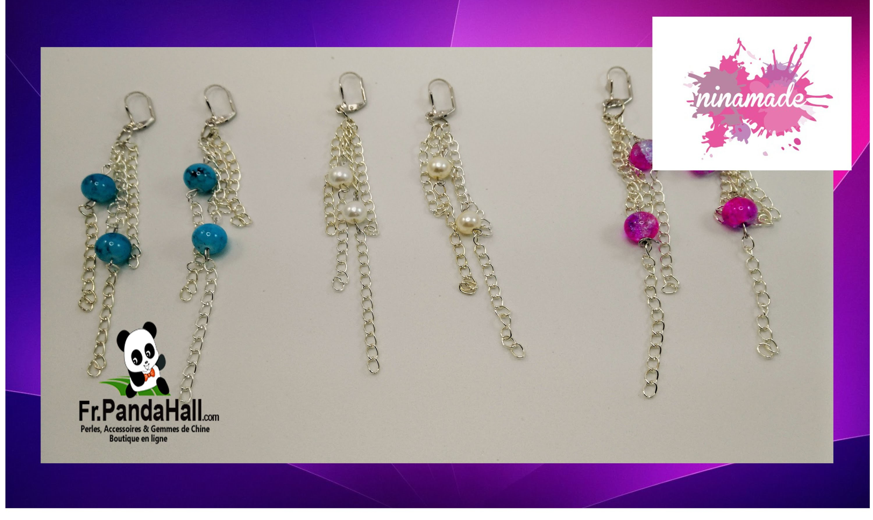 Tuto 14. DIY. Boucles d'oreilles avec des chaînes et des perles.