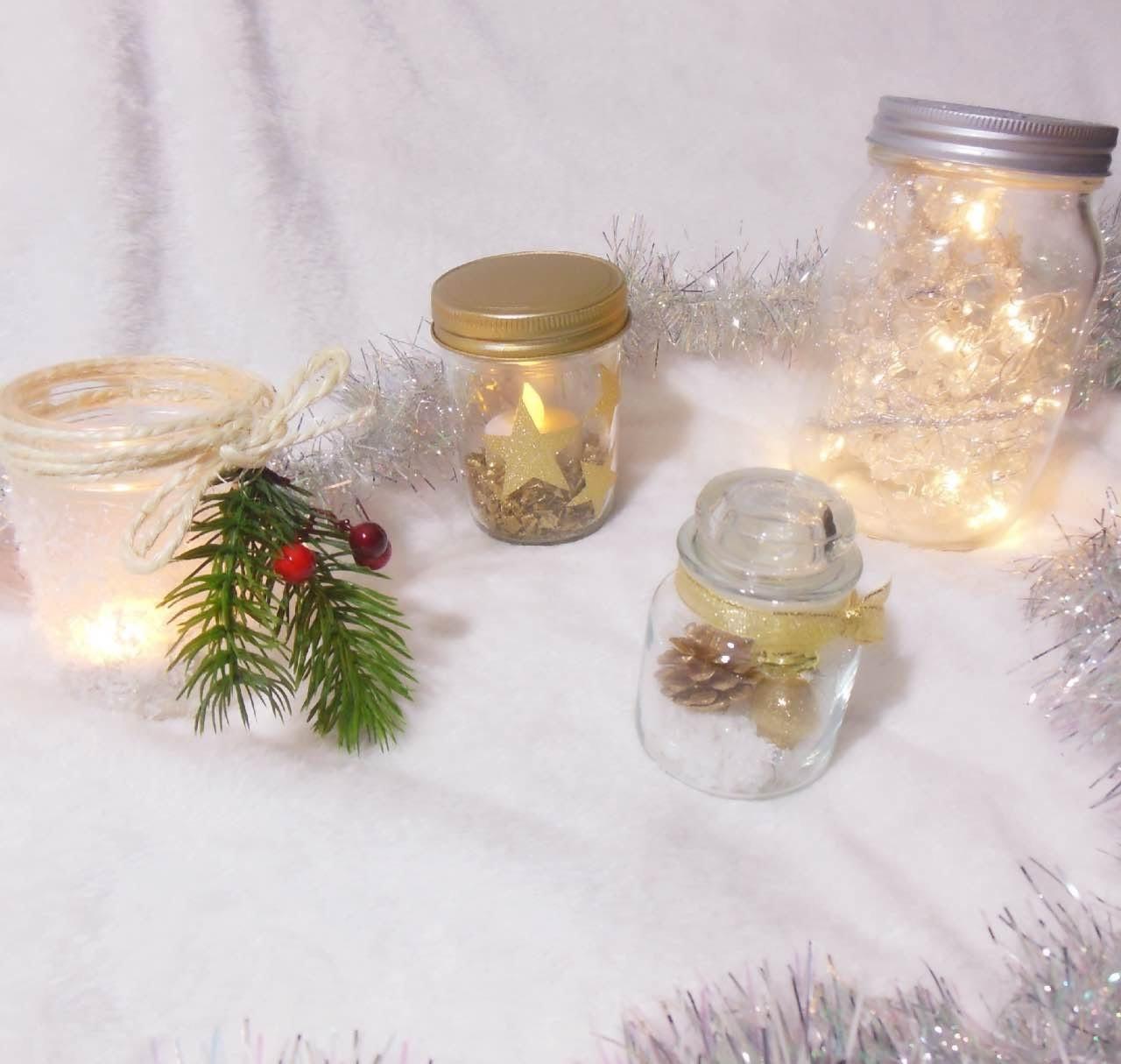 ✨4 DIY Mason Jar ❄️Christmas Decorations ❄️ (recyclage bougie terminée)
