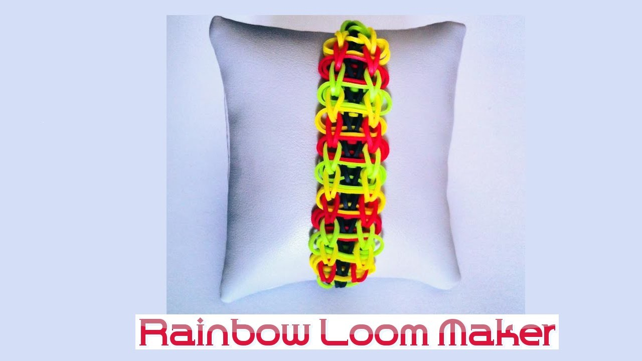 "TUTO FR.EN ! Rainbow loom Bracelet ""scale"" model. modéle échelle"