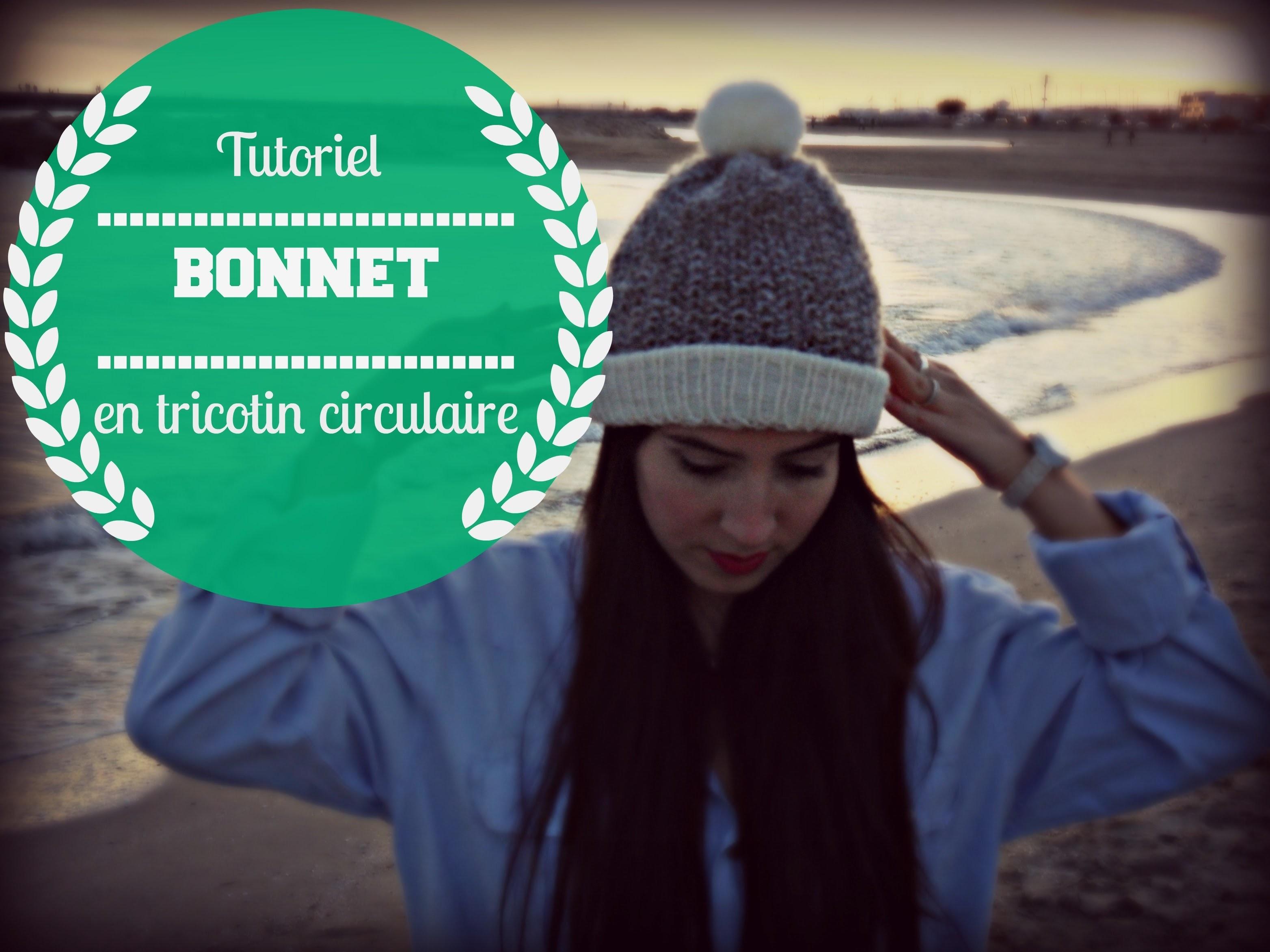 Bonnet en point de riz avec tricotin circulaire.rond