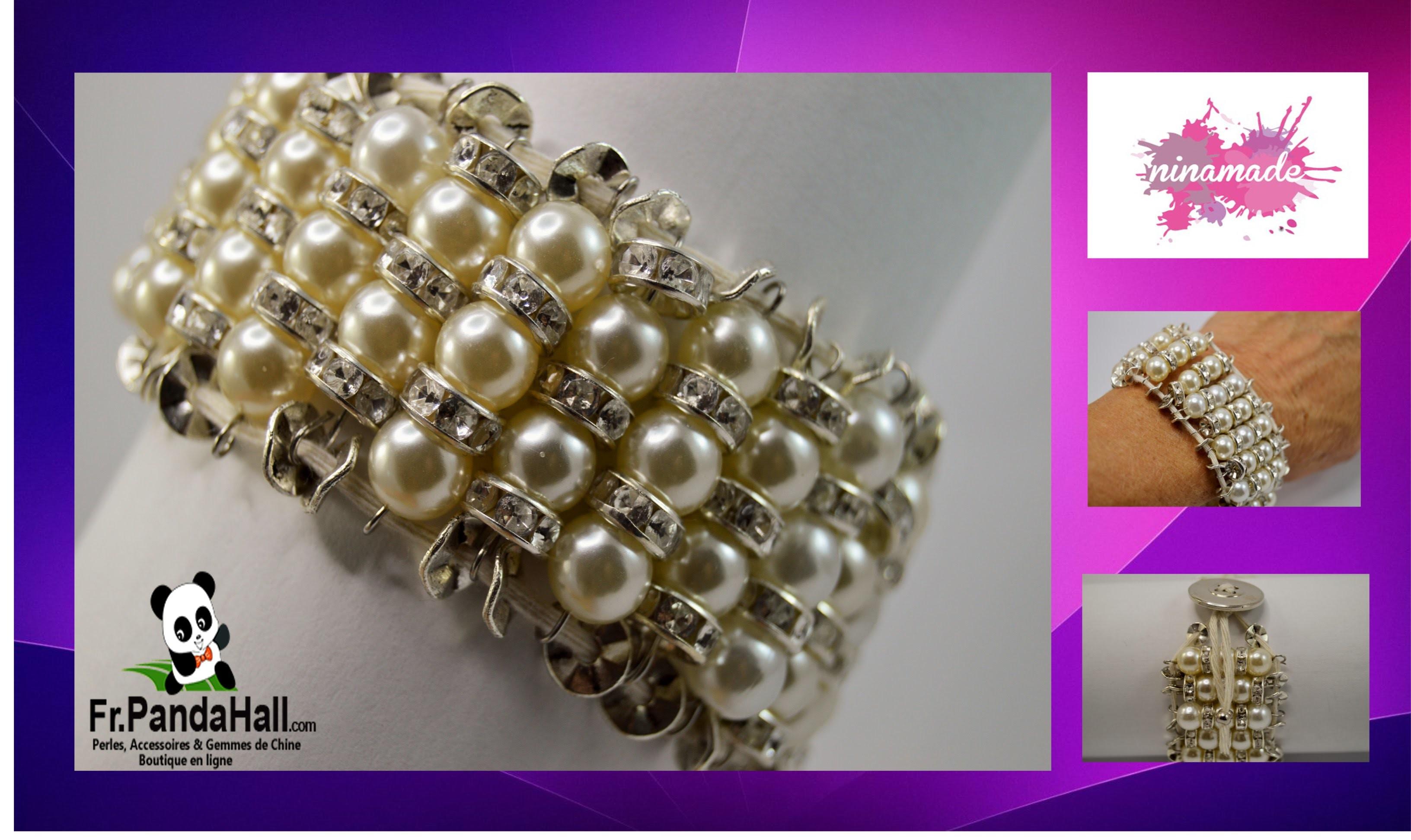 DIY. Tuto18.Bracelet avec  perles et strass. Fr.PandaHall.com