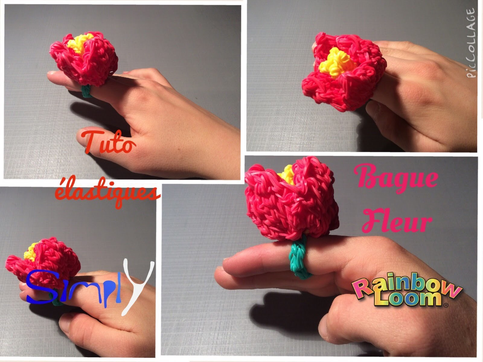 Tuto { Bague fleur 3D en elastiques Rainbow Loom } Simply