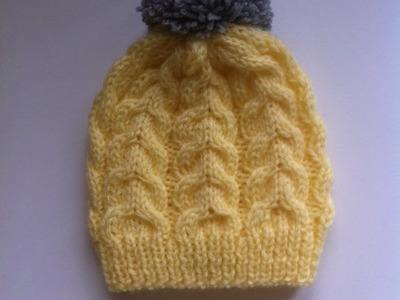 Bonnet tricot bébé a torsade facile 2. gorro bebe dos agujas  facil 2