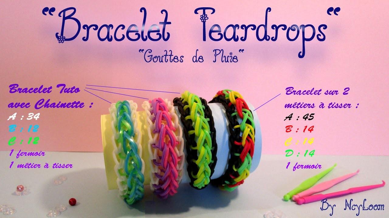 Tuto Simple Bracelet élastique raindrop rainbow loom FR