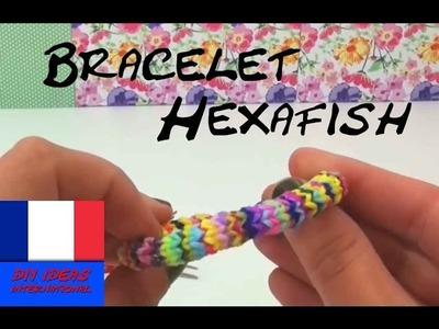 Comment fabriquer bracelet HEXAFISH avec deux fourchettes rainbow loom Hexafish bracelet élastique