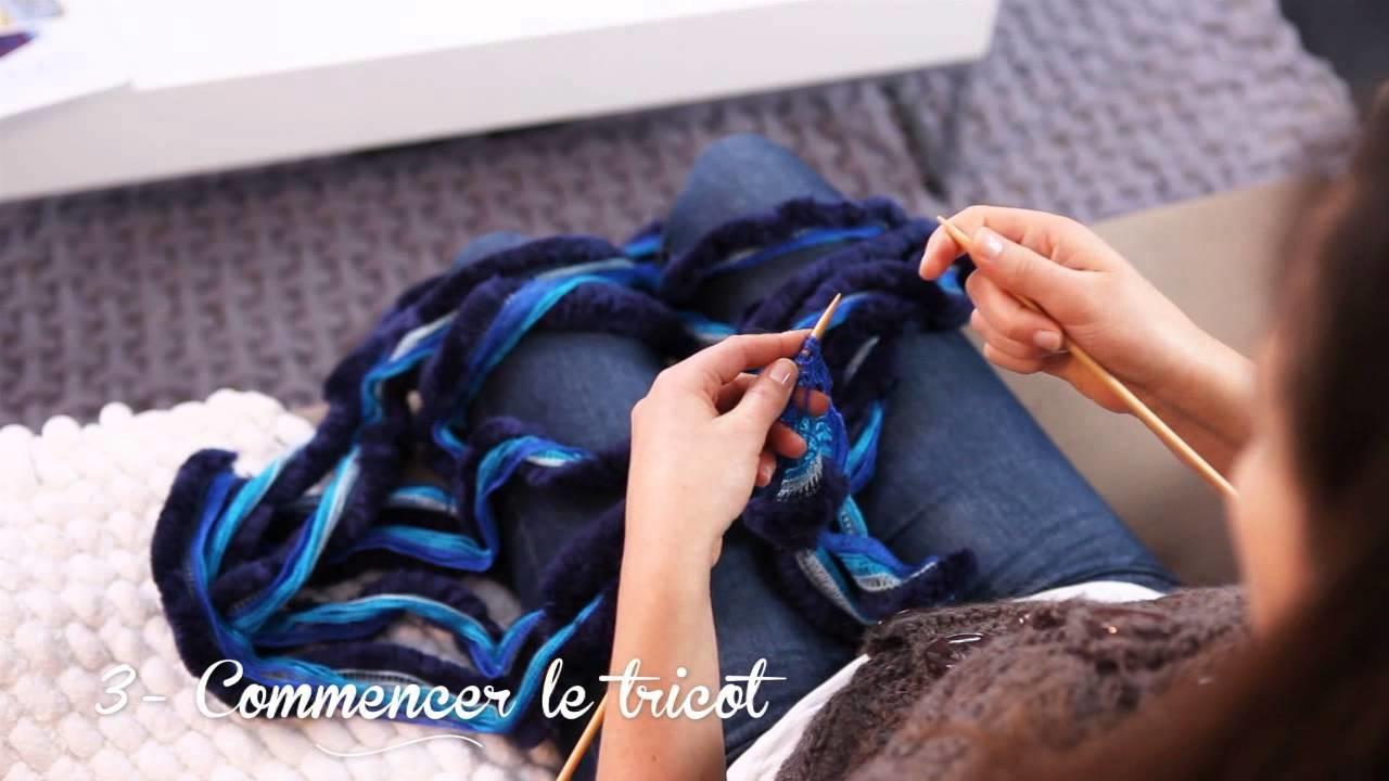 Tricoter une écharpe fantaisie en fil Flamenco - Phildar