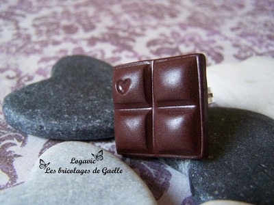 Tuto Fimo facile : chocolat et petit coeur, Easy polymer tutorial, cocolate and heart