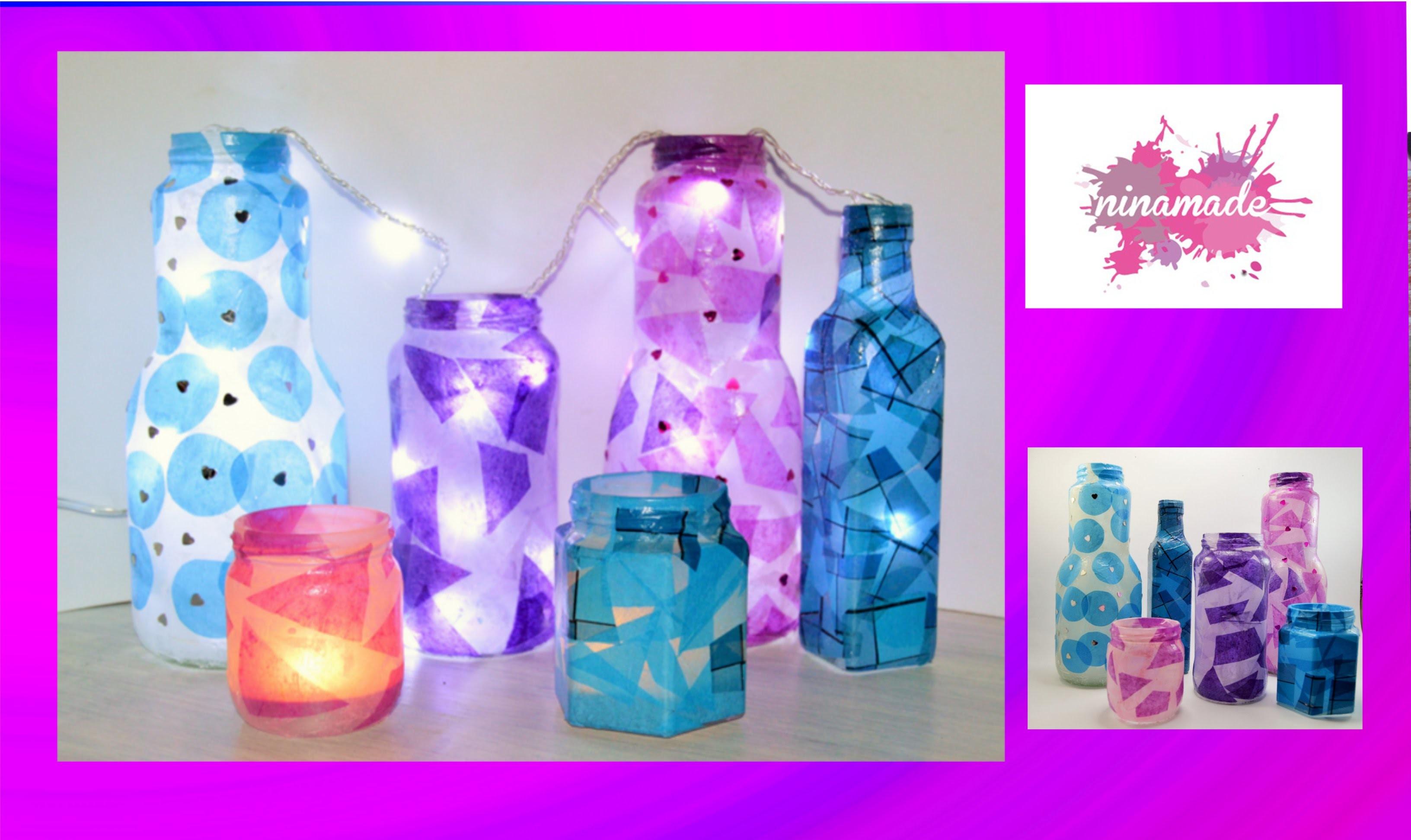 DIY. Bouteilles en verre décorées.