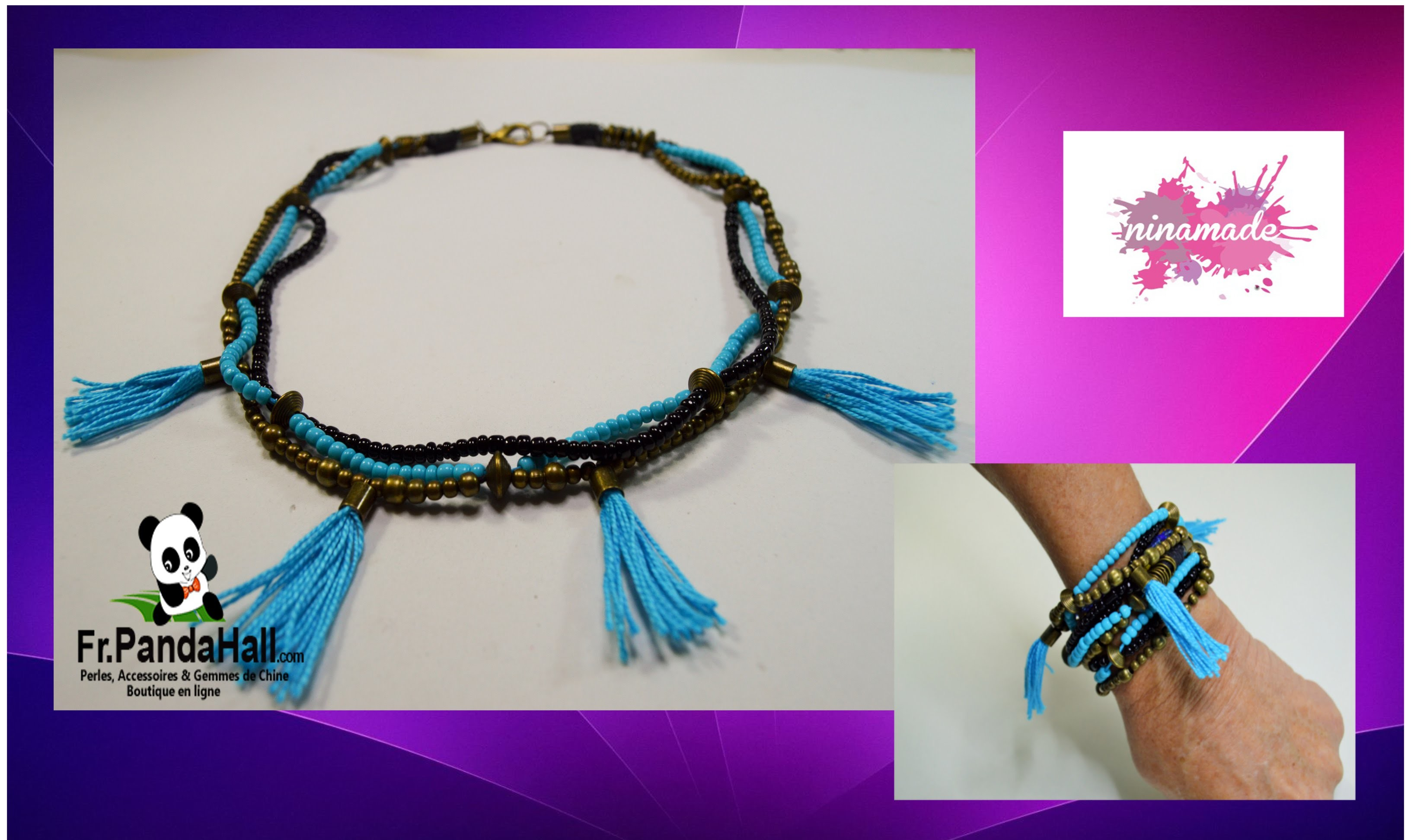 DIY. Tuto 20. Collier.bracelet bronze et turquoise. Fr-Pandahall.com