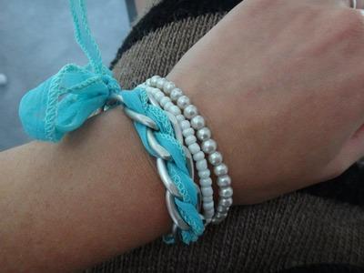 Tuto diy bracelet chaine de gourmette et ruban