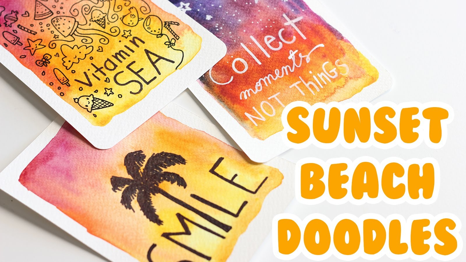 DIY # TUTO Cartes d'été - Sunset beach doodles