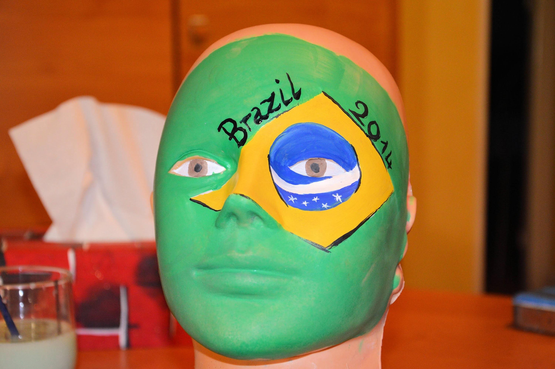 Tutoriel maquillage drapeau du Brésil. Make up  tutorial for Brazil's flag  Fifa World Cup 2014