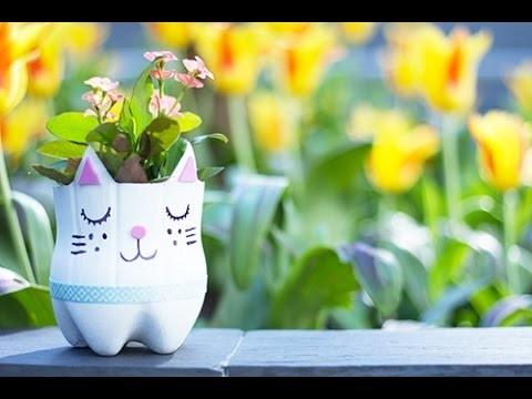 Bricolage Fête des mères DIY : Un joli pot de fleurs récup' en forme de chat