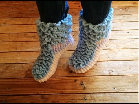 Crochet : Chaussons adulte point crocodile facile 2. Crochet crocodile stitch socks 2