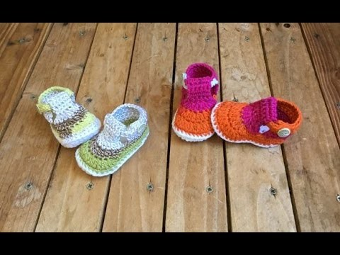 Crochet Sandale bébé très facile 2 !. Crochet Baby sandals very easy 2 !