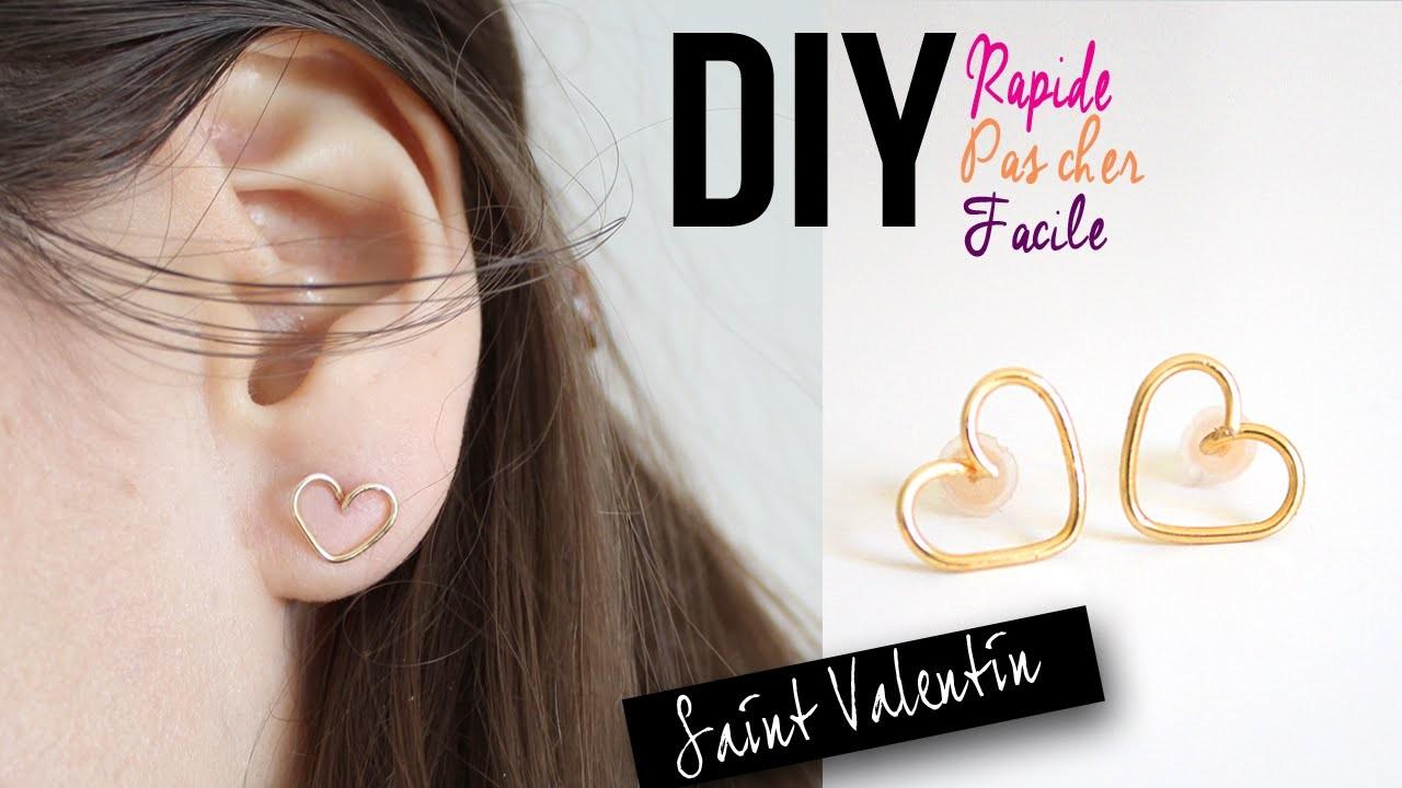 DIY : BOUCLES D'OREILLES COEUR - SAINT VALENTIN FACILE RAPIDE ABORDABLE. earrings wire heart